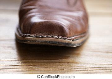 cowboy boot in macro