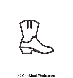 Cowboy boot line icon isolated on white. Vector illustration
