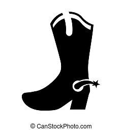 cowboy boot shoe icon
