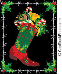 Cowboy boot stocking stuffed with candy and toys with a barbed wire frame