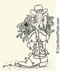 Cowboy boot with Christmas elements isolated on white.Vector hand drawn illustration