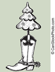 Cowboy boot with christmas tree.Black graphic - Cowboy boot...