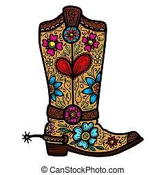 Cowboy boot with floral pattern.  Design element for poster, t shirt, emblem, sign.