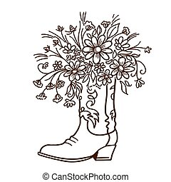 Cowboy boot with Flowers isolated on a white background. Sketch hand drawn vector close-up illustration.
