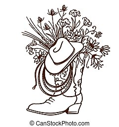 Cowboy boot with Flowers isolated on a white background. Sketch hand drawn vector close-up illustration with cowboy hat and lasso decoration