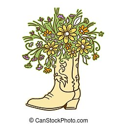 Cowboy boot with Flowers isolated on a white background. Sketch hand drawn vector close-up color illustration.