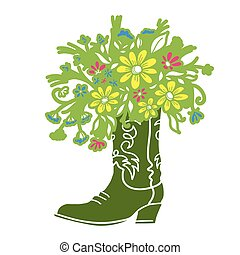 Cowboy boot with Flowers isolated on a white background. Sketch silhouette hand drawn vector close-up color illustration.