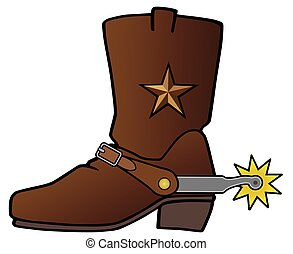 Cowboy Boot with Spur - A leather cowboy boot with a metal...