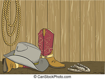 Cowboy boots and hat. Vector color background for design