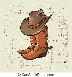 Cowboy boots and hat. Vector graphic illustration on old grunge background.