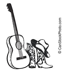 cowboy boots and music guitar isolated on white - Western...