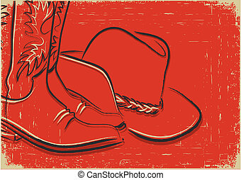 Cowboy boots and western hat .Sketch illustration on red...
