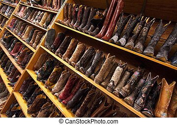 Cowboy boots, Austin, TX - Ladies' leather cowboy boots line...