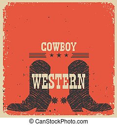 Cowboy boots background. Vector red card with text