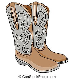 Cowboy Boots Cartoon - An image of a pair of cowboy boots.