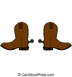 Cowboy boots - Cartoon illustration of a pair of leather...