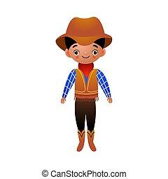 cowboy, boots., ethnisch, hut, rotes , vektor, abbildung, amerikanische , kleidung, bandana, wohnung, karikatur, stil, traditionelle