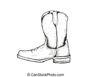 cowboy boots for wild west icon sketch hand drawn illustration isolated with white background