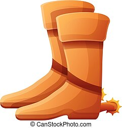 Cowboy boots icon, cartoon style