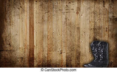 Cowboy boots - Black Cowboy boots against a weathered cedar...