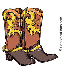 Cowboy boots .Vector graphic image - Cowboy boots .Vector...