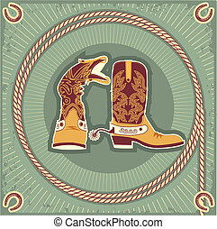 Cowboy boots.Vintage western decor background with rope and...