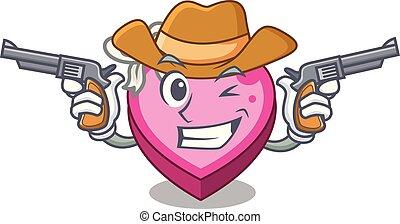 Cowboy box heart in shape of mascot
