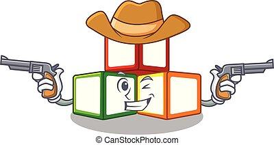 Cowboy bright toy block bricks on cartoon