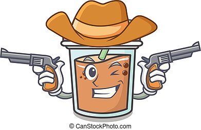 Cowboy bubble tea character cartoon