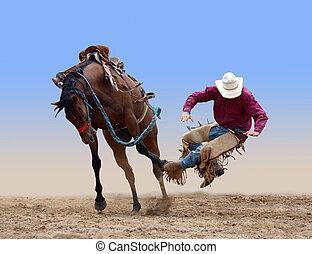 cowboy, bucked, von, a, bocken bronco