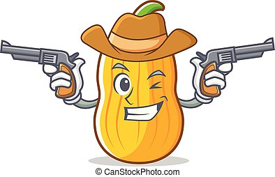 Cowboy butternut squash character cartoon vector...