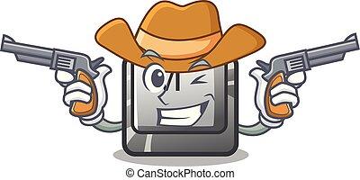 Cowboy button M on a keyboard mascot