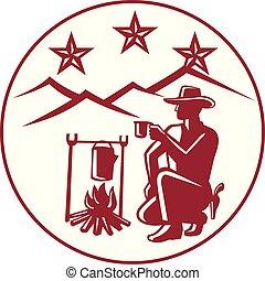 cowboy-campfire-coffee-HILLS-circ - Icon retro style ...