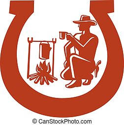 cowboy-campfire-coffee-horseshoe - Mascot icon illustration ...