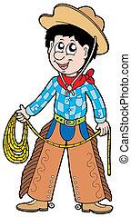 cowboy, cartone animato, laccio