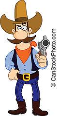 Cowboy cartoon - Cartoon cowboy holding his gun