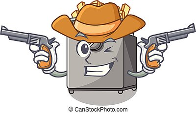 Cowboy cartoon deep fryer in the kitchen vector illustration