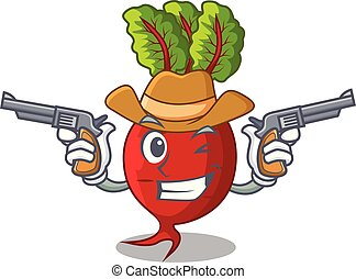 Cowboy cartoon fresh harvested beetroots in wooden crate