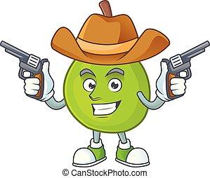 Cowboy cartoon guava mascot on white background