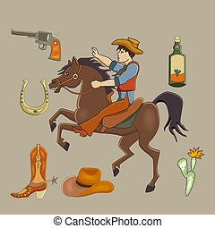 Cowboy cartoon set. Mustang, cowboy, cactus, tequila, long gun, horseshoe.