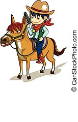 cowboy in uniform hold the gun ride the horse vector cartoon with colorful
