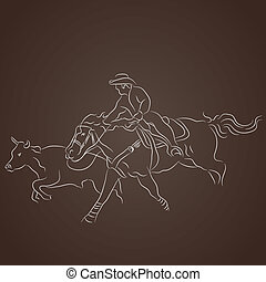Cowboy Catching Cattle - An image of cowboy on a horse...