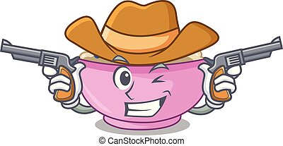 Cowboy character a bowl of oatmeal porridge