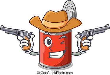 Cowboy character canned food isolated on cartoon