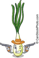 Cowboy character green onion on the table vector...