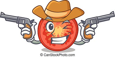 Cowboy character tomato slices for food decor