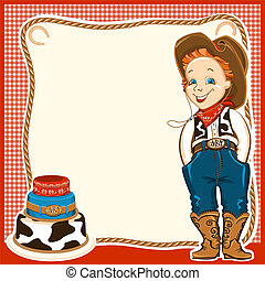 Cowboy happy child in western traditional clothes and holiday cake. Vector background for text