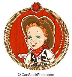 Cowboy child portrait - cowboy child portrait with rope...