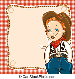 Cowboy happy child with western traditional clothes. Vector background for text