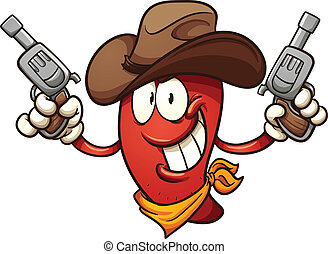 Cowboy chili pepper holding two revolvers. Vector clip art...